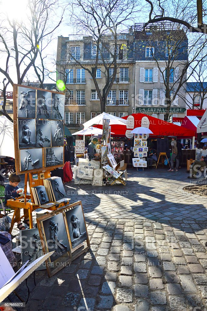 Artists working at Place du Tertre in Montmartre stock photo