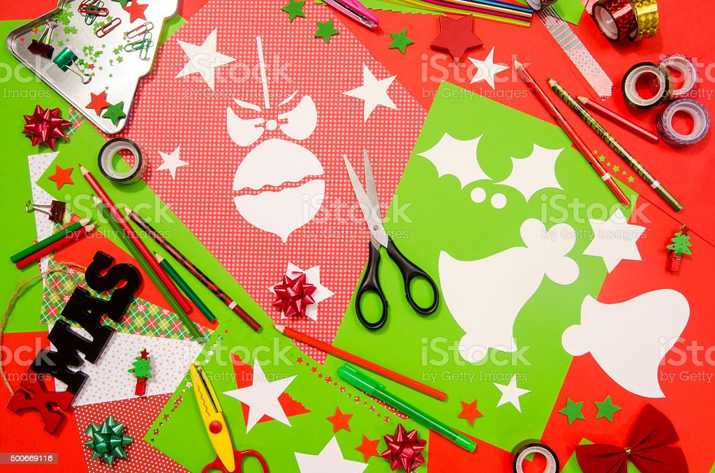 Craft Supplies Christmas Part - 49: Arts And Craft Supplies For Christmas. Royalty-free Stock Photo