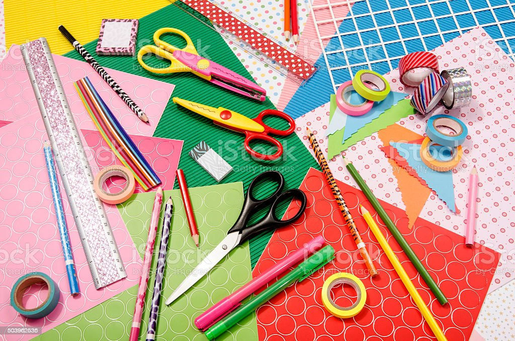 Arts and craft supplies. stock photo