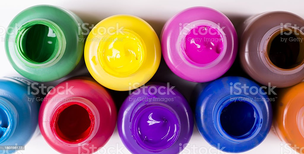 Arts and Crafts: Assorted colors of open paints. Creative hobbies royalty-free stock photo