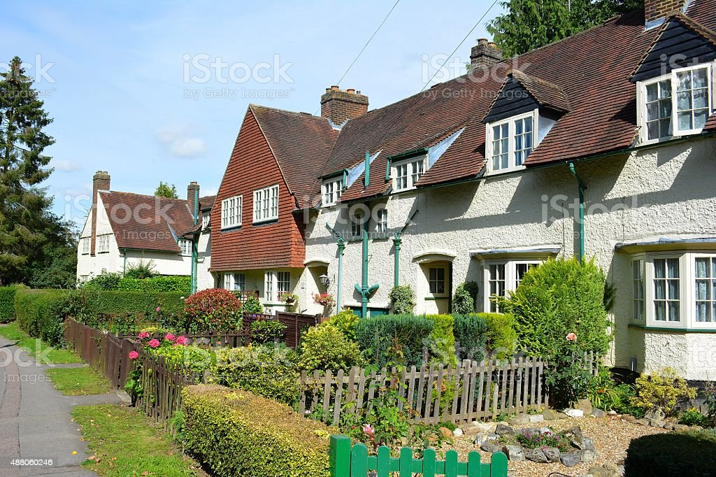 Arts and crafts houses in Letchworth Garden City stock photo