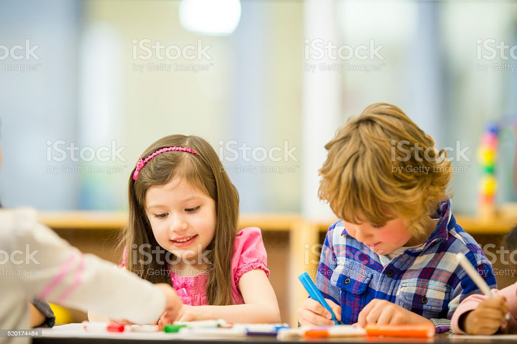 Arts and Crafts in Class stock photo