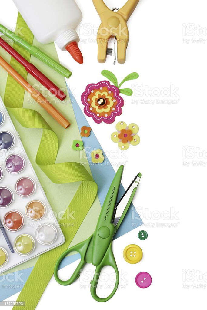 Arts and crafts supplies, with copy space stock photo