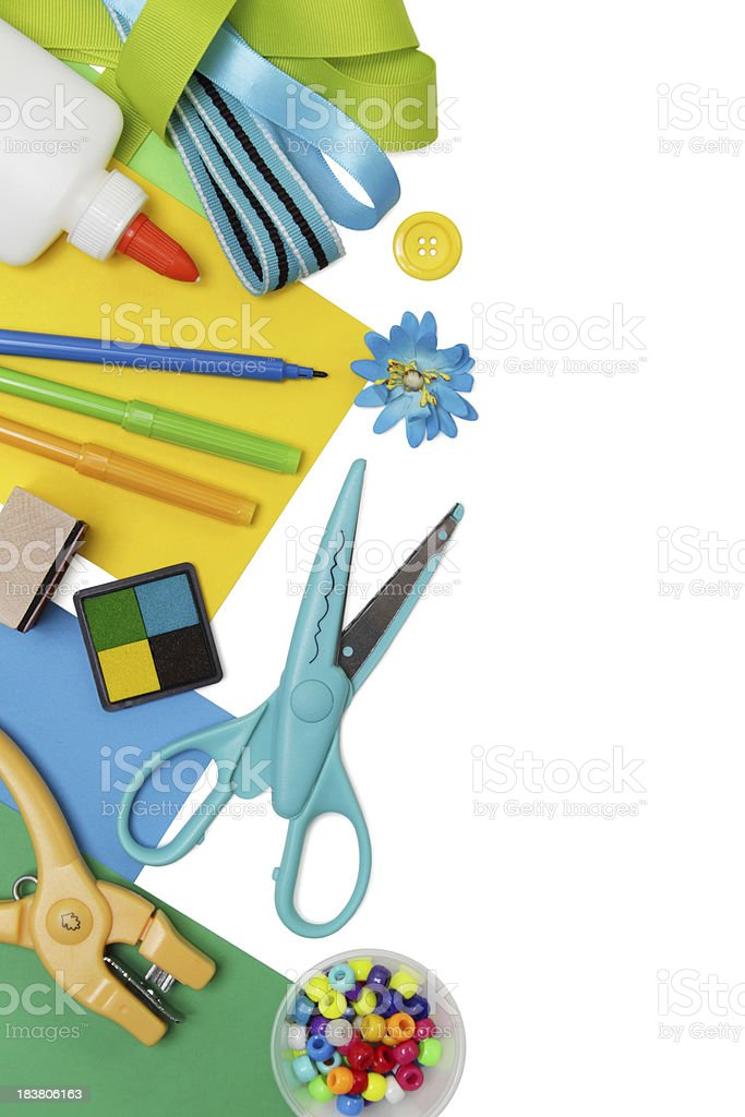 Arts and crafts supplies, with copyspace royalty-free stock photo