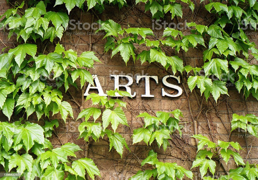 Arts Building Sign - Covered in ivy royalty-free stock photo