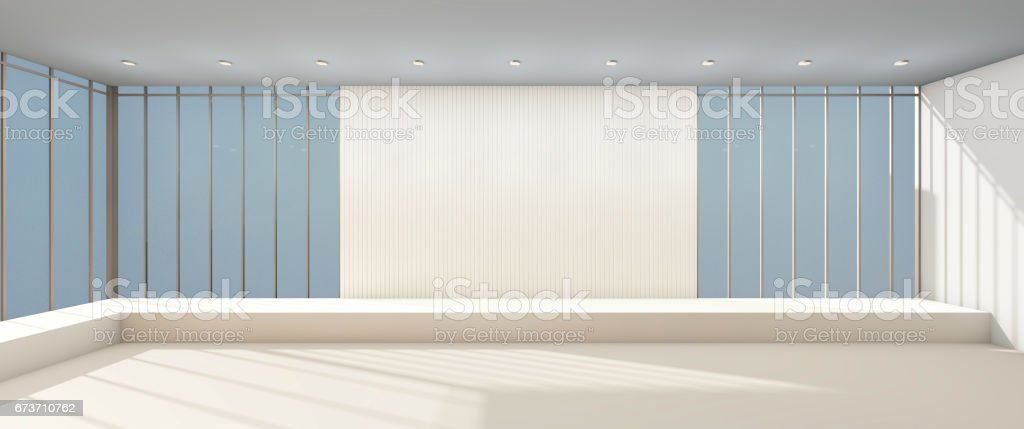 Arts Gallery Modern minimal and glass window exhibition stock photo