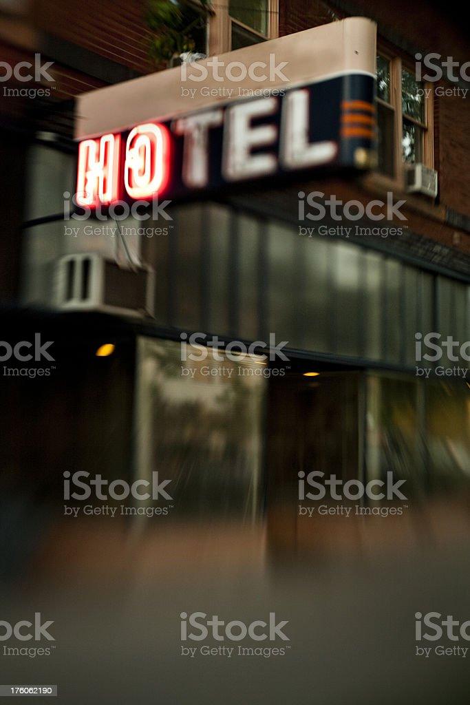 Artsy grainy image of hotel sign stock photo