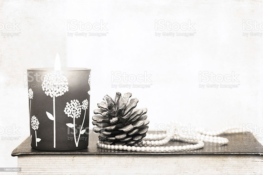 artwork in retro style, burning candle and decoration royalty-free stock photo