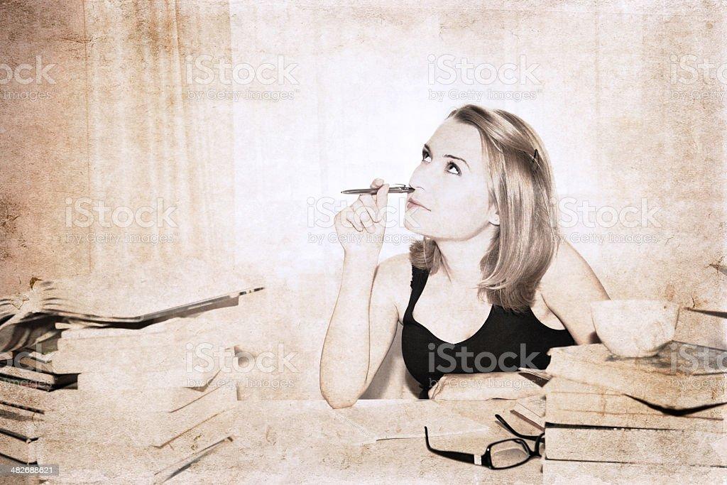 artwork in retro style,  girl, reading books royalty-free stock photo
