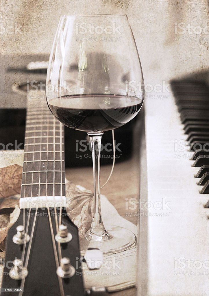artwork  in retro style,  music and wine royalty-free stock photo