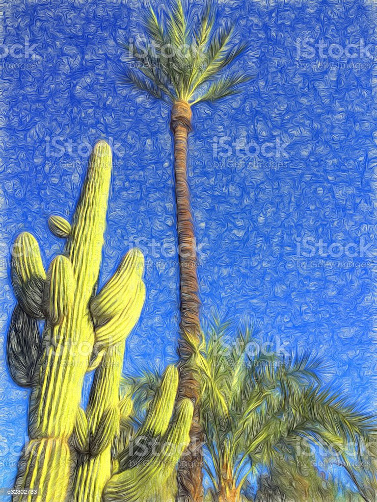 Artwork of Palm Trees and Saguaro Cactus Against Blue Sky stock photo