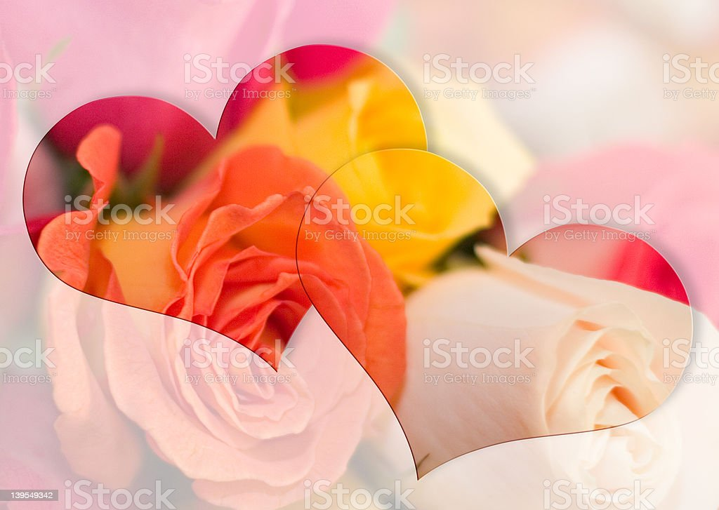 Artwork with Hearts & Roses royalty-free stock photo
