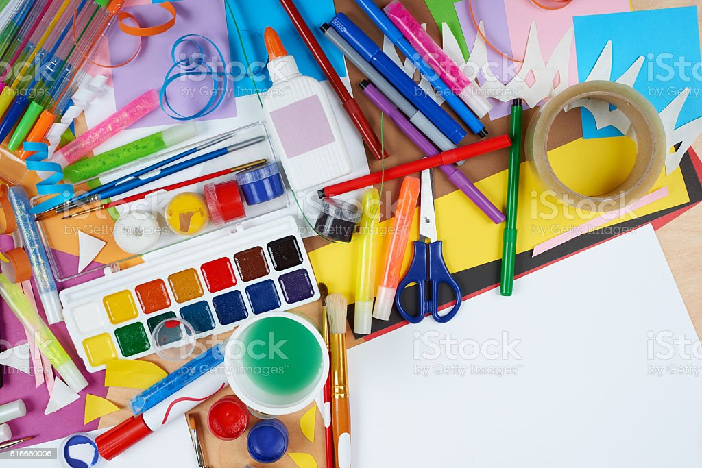 artwork workplace with creative accessories, art tools for painting stock photo