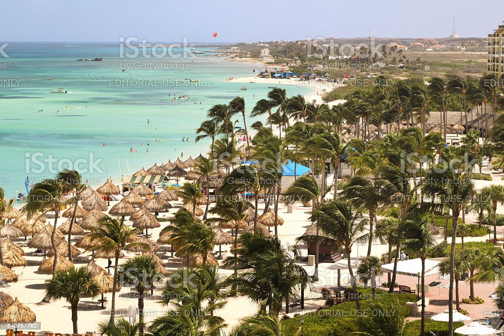 Aruban Beach Front, from top of hotel looking up coast stock photo