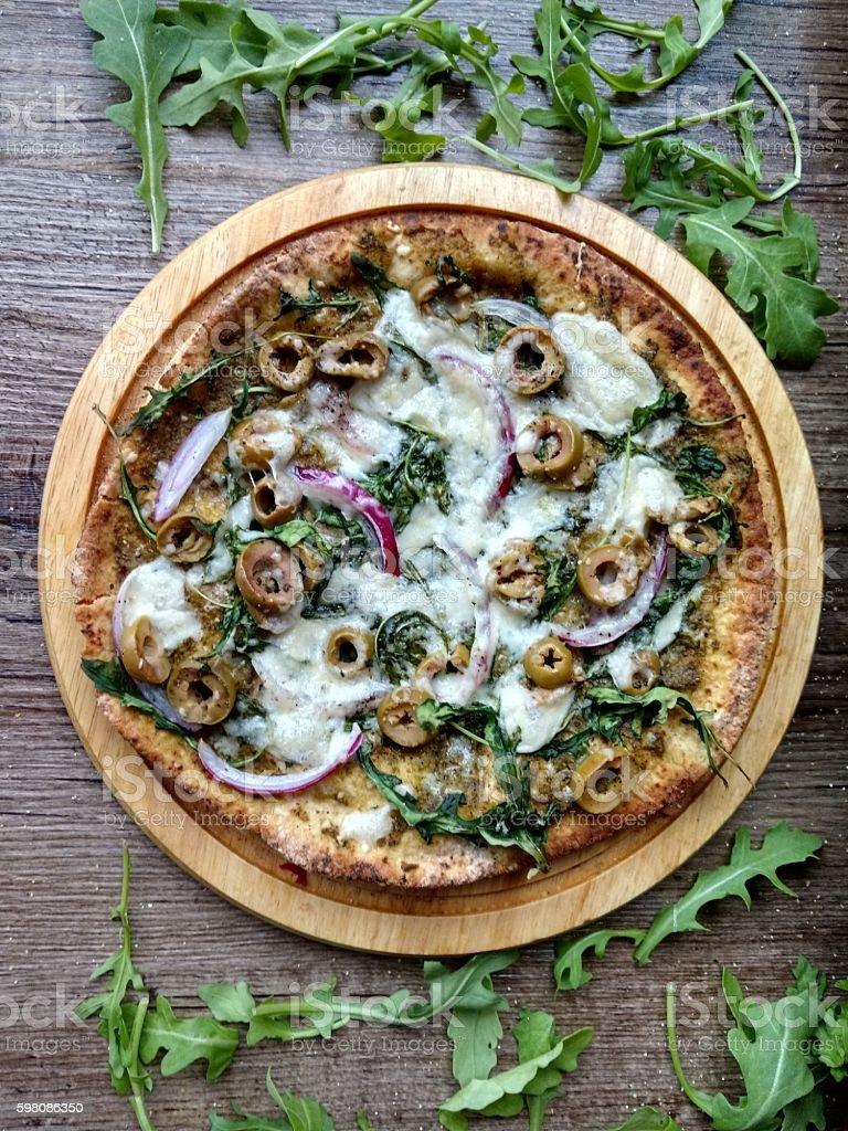 Arugula and Pesto Pizza stock photo