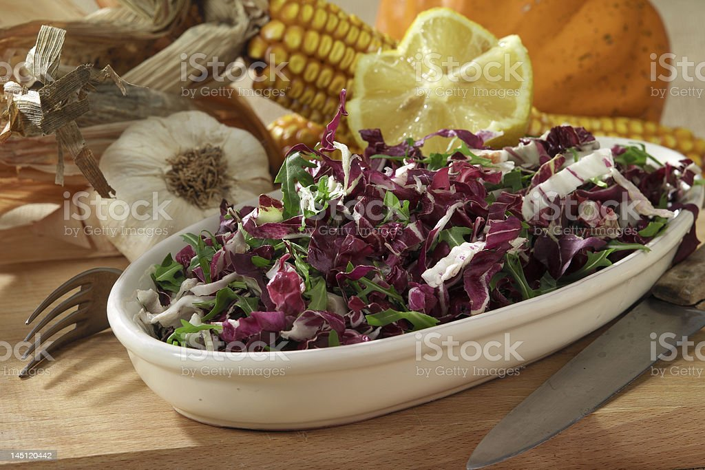 arugula and radicchio salad royalty-free stock photo