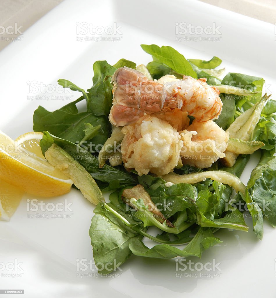Arugula and shrimp salad royalty-free stock photo
