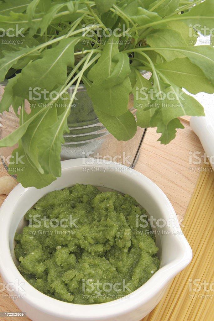 Arugula pesto freshly made royalty-free stock photo