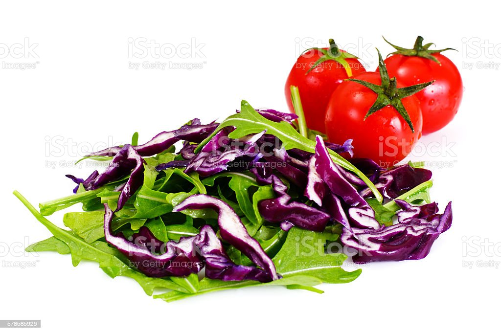 Arugula Salad and Red Cabbage stock photo