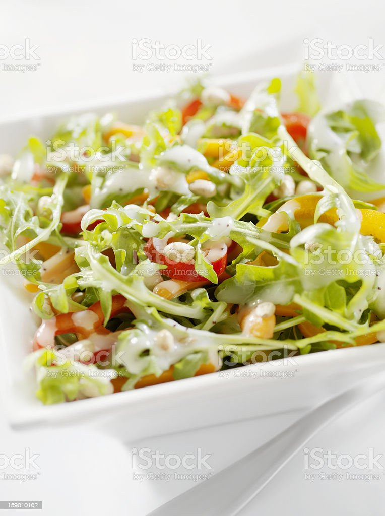 Arugula Salad with Peppers and Pine Nuts royalty-free stock photo
