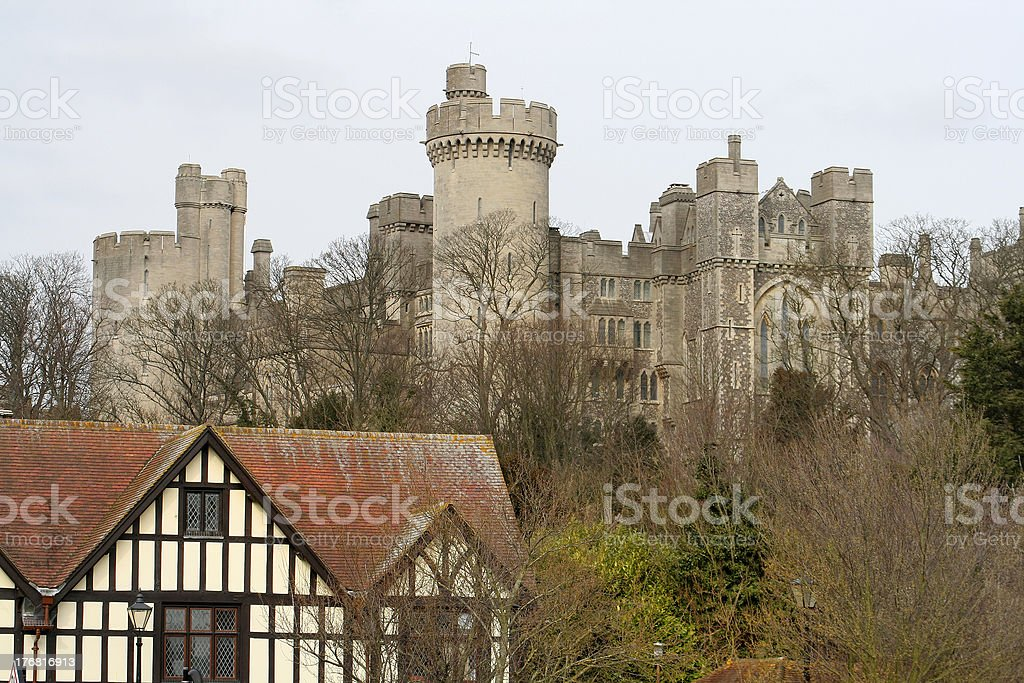Arundel castle and tudor building royalty-free stock photo