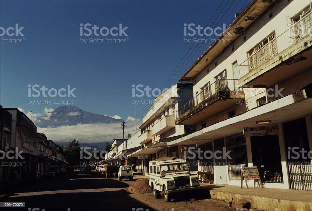 Arusha town with Mt. Meru in the background, Tanzania stock photo