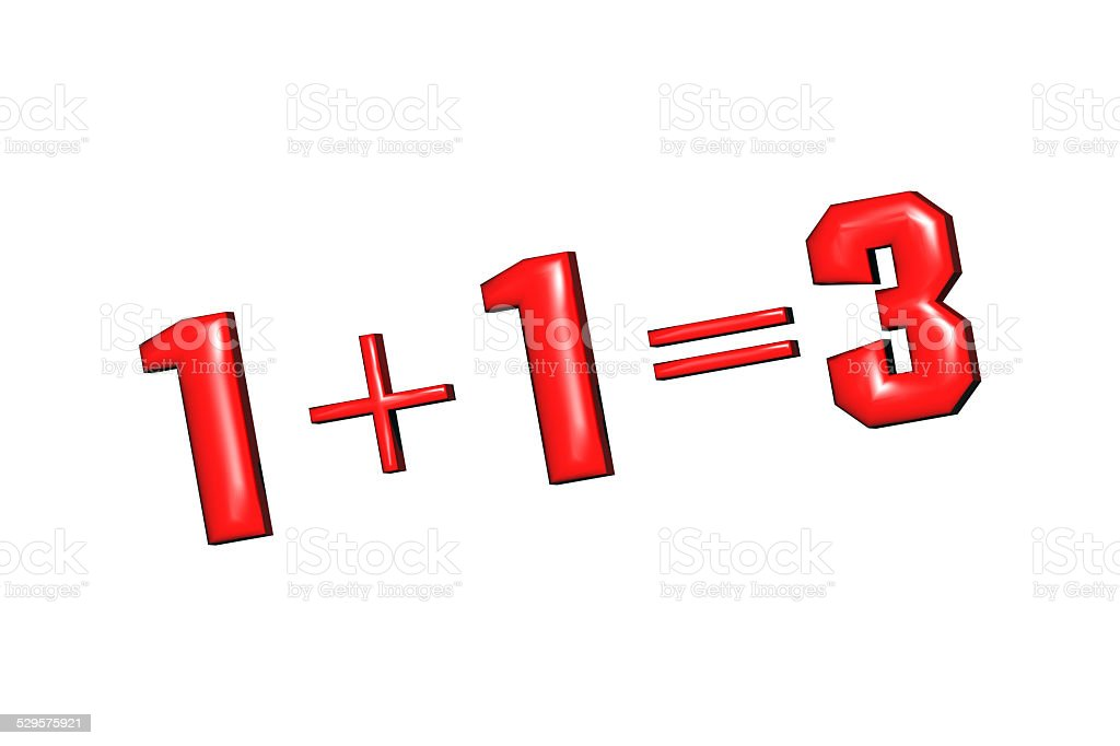 1+1=3 as mathematical calculations on a white background stock photo