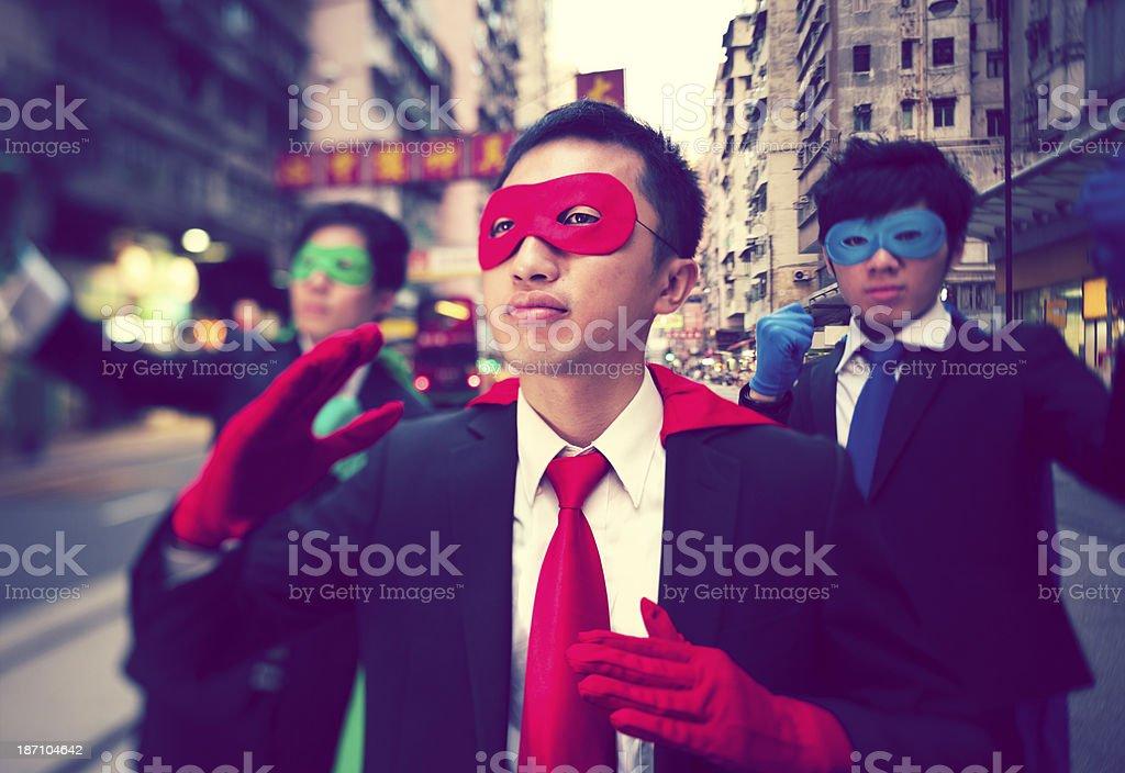 Asain Businessmen Superheroes royalty-free stock photo