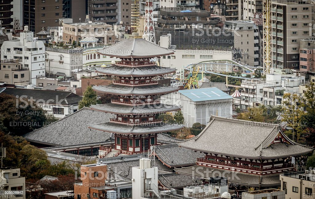Asakusa district with famous Sensoji Temple - Tokyo stock photo