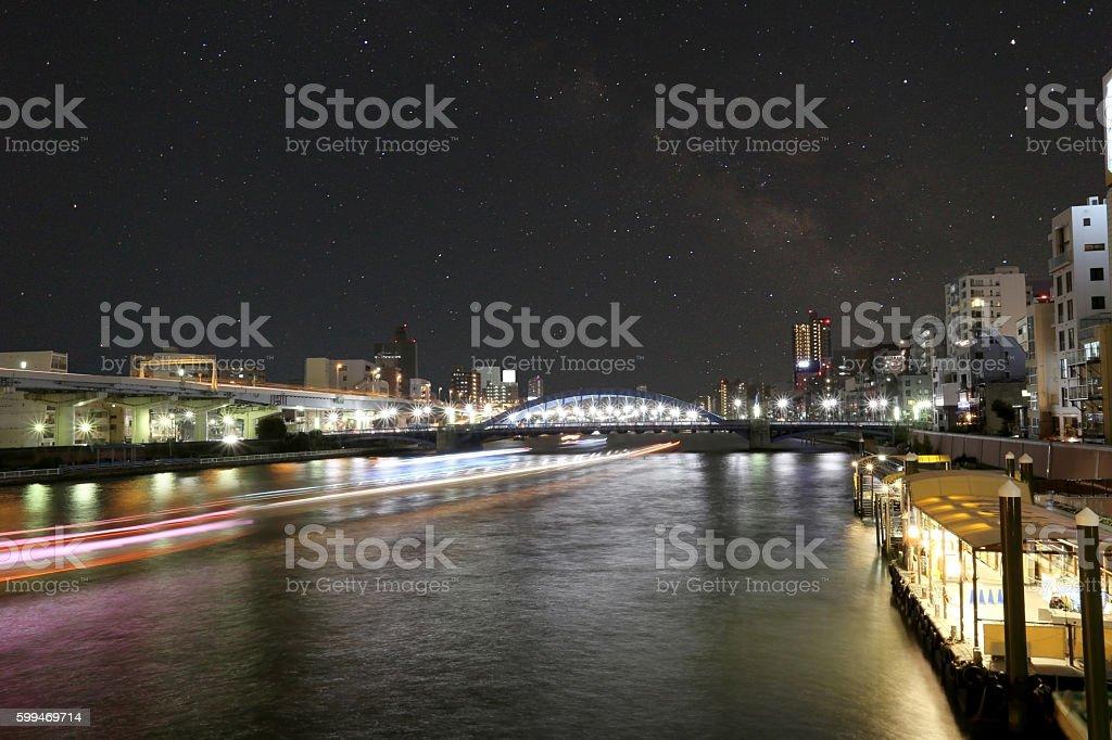 Asakusa dori bridge for crossing sumida river in night view. stock photo