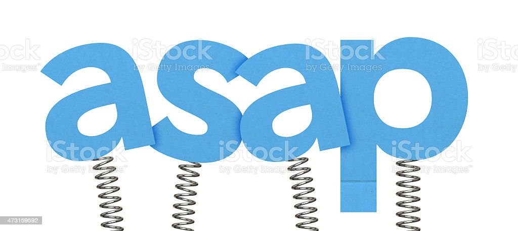 asap made from letters on springs stock photo