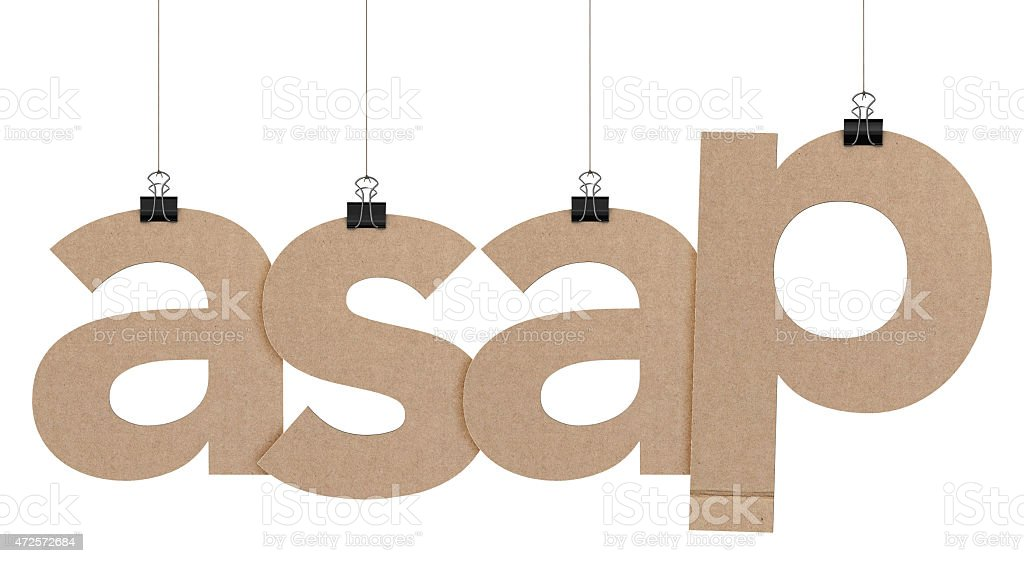asap word hanging on strings stock photo