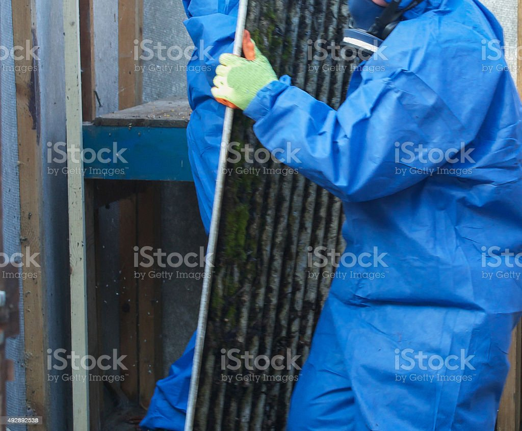 Asbestos corrugated roofing sheet being removed and sealed stock photo