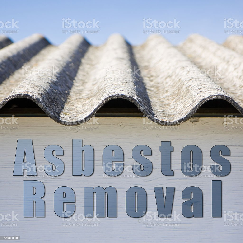 Asbestos removal concept image in square composition stock photo