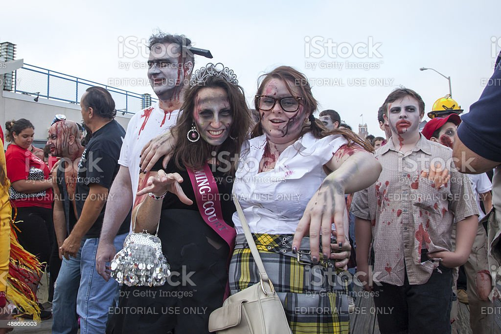 Asbury Park Zombie Walk 2013 - Homecoming Queen and Friend royalty-free stock photo