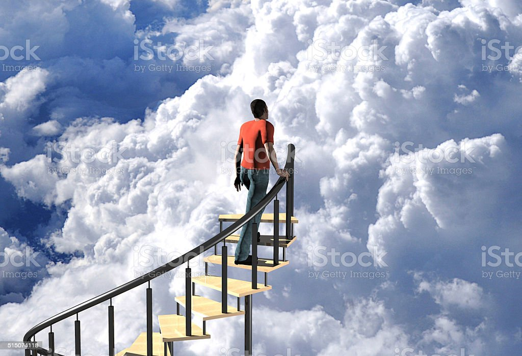 ascending a stairway to heaven stock photo