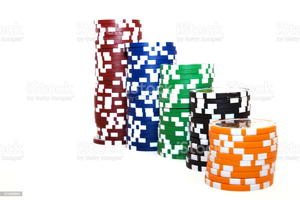 Ascending Or Descending Stacks Of Poker Chips XL royalty-free stock photo