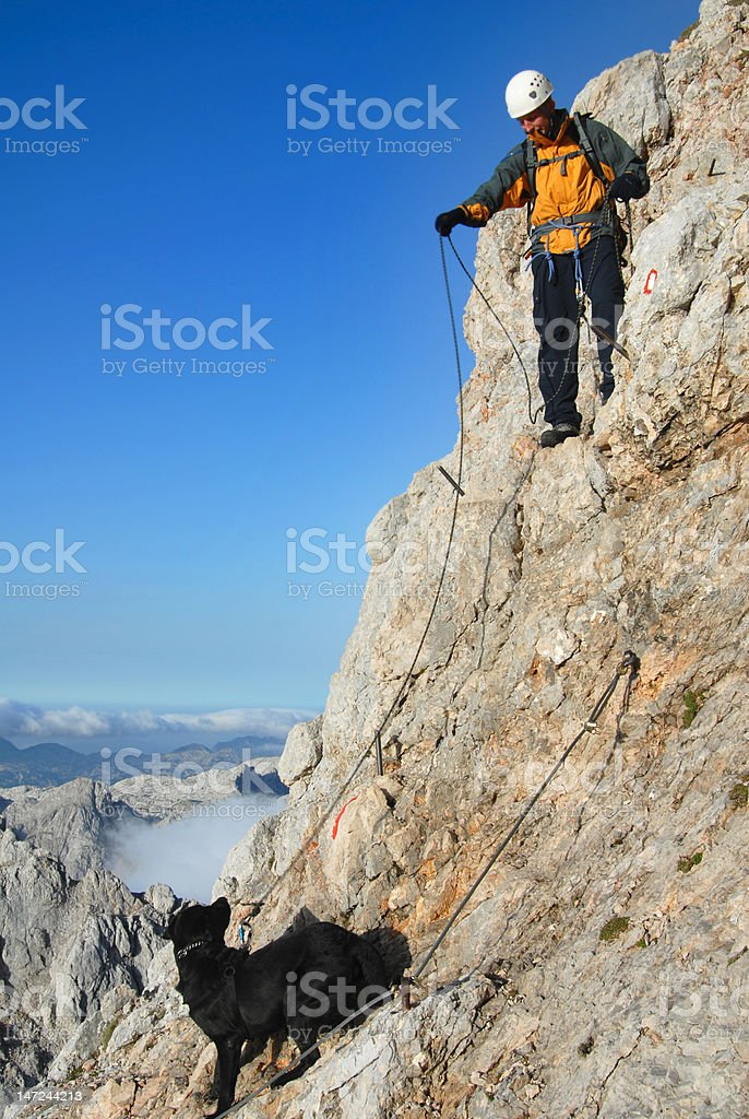 Ascending the mountain with dog royalty-free stock photo