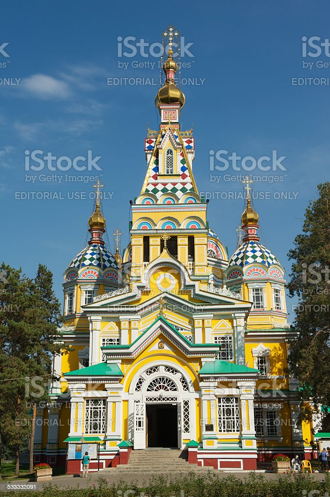 Ascension Cathedral exterior in Almaty, Kazakhstan. stock photo