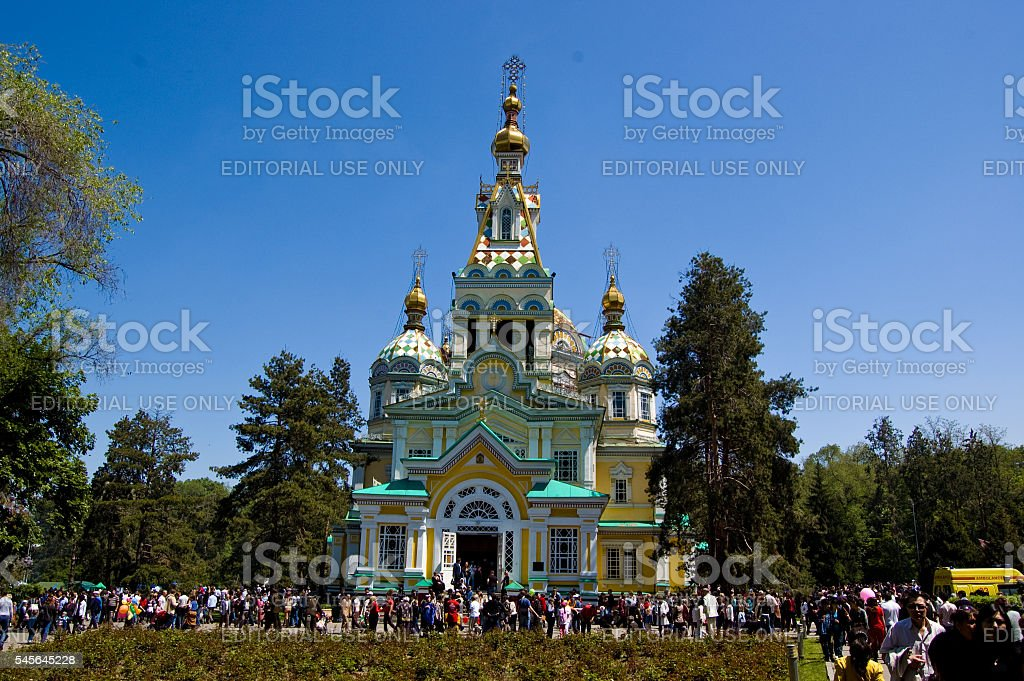 Ascension Cathedral in Almaty on 9th of May stock photo