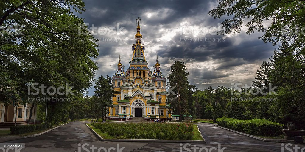 Ascension Cathedral in Almaty stock photo