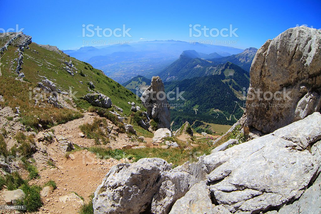 Ascension to Dent du Crolles toward the aiguille pass stock photo