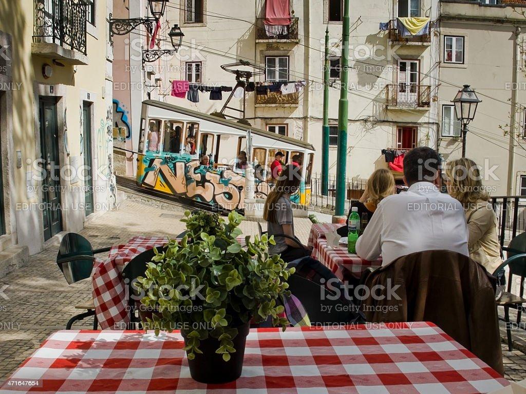 Ascensor da Bica in Lisbon, Portugal. stock photo