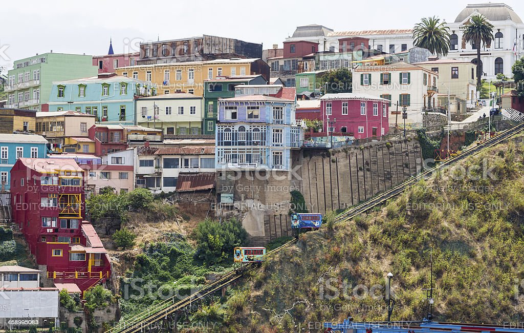 Ascensor Funicular Cerro Artillería in Valparaiso, Chile stock photo