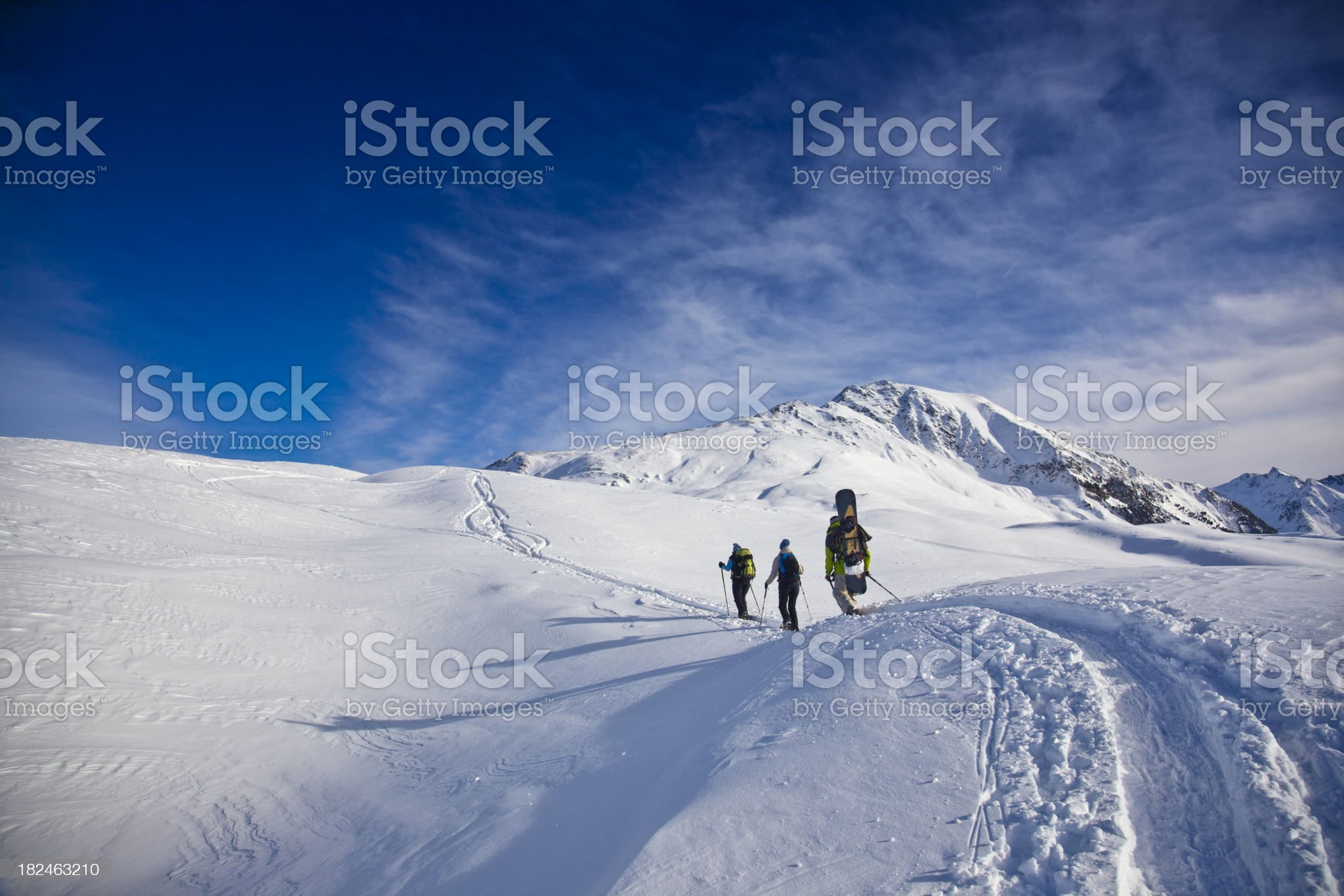 Ascent with snowshoes royalty-free stock photo