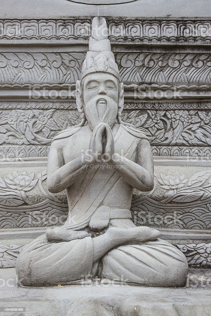 Ascetic statue in Thai style molding art, from sement royalty-free stock photo