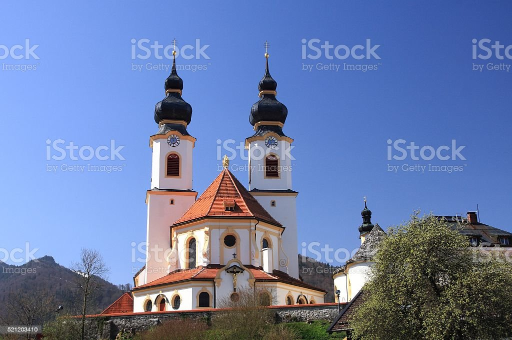 Aschau baroque church on early spring, Bavaria, Germany stock photo