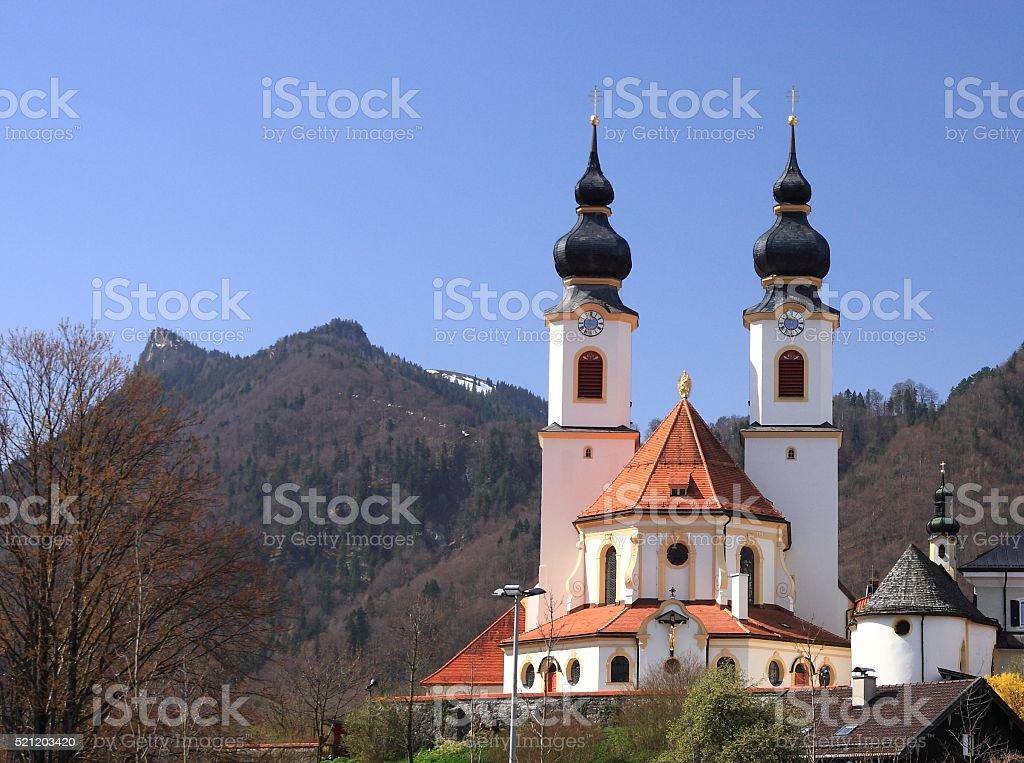 Aschau baroque church on early spring, Bavaria, Germany stock photo