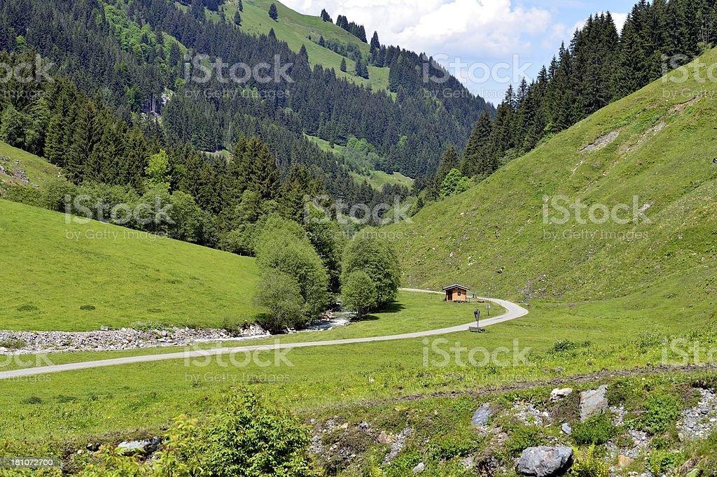 Aschau Valley in Austria in sunshine stock photo