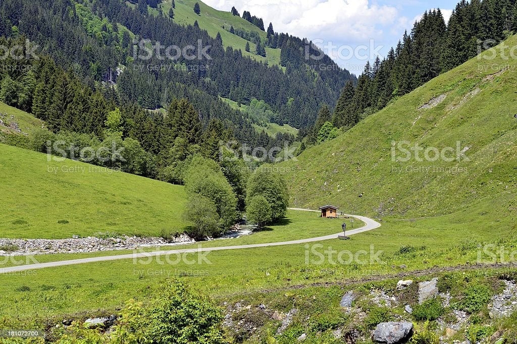 Aschau Valley in Austria in sunshine stock photo